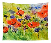 Red Poppies And Cornflowers Tapestry
