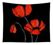Red Poppies On Black By Sharon Cummings Tapestry