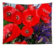 Red Poppy Cluster With Purple Lavender Tapestry
