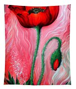 Red Poppy Flower. Pink Sunset Tapestry