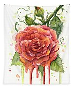 Red Rose Dripping Watercolor  Tapestry