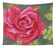 Red Rose With Yellow Lady's Mantle Tapestry