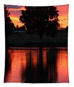 Red Sky Reflection With Tree Tapestry