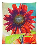 Red Sunflowers At Sundown Tapestry