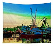 Red Sunrise And The Shrimp Boat Tapestry