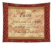 Red Traditional Faith Tapestry