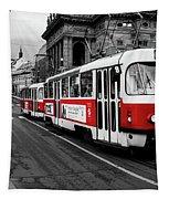 Prague - Red Tram Tapestry by Miles Whittingham