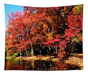 Red Trees By Lake Tapestry
