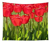 Red Tulips Square Tapestry
