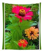 Red Yellow Zinnia Flowers Tapestry
