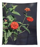 Red Zinnia Flowers Tapestry