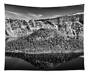 Reflection Of Wizard Island Crater Lake B W Tapestry