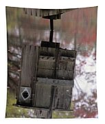 Reflection Of Wood Duck Box In Pond Tapestry