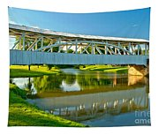 Reflections Of The Halls Mill Covered Bridge Tapestry