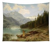 Resting By The Mountain Lake Tapestry