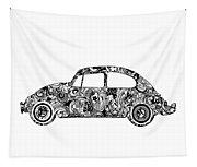 Retro Beetle Car 2 Tapestry