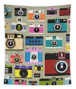 Retro Camera Pattern Tapestry