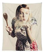 Retro Cooking Woman Giving Recipe Kiss Tapestry
