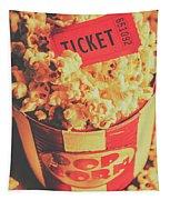 Retro Film Stub And Movie Popcorn Tapestry
