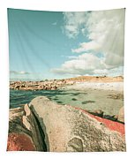 Retro Filtered Beach Background Tapestry