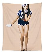 Retro Pinup Girl Blowing Travelling Departure Kiss Tapestry