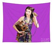 Retro Receptionist On Vintage Telephone. Call Us Tapestry