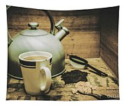 Retro Vintage Toned Tea Still Life In Crate Tapestry