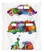 Retro Wheels Watercolor Tapestry