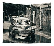 Retromobile. Morris Minor. Vintage Monochrome Tapestry