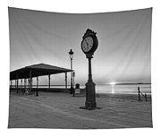 Revere Beach Clock At Sunrise Revere Ma Black And White Tapestry