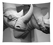 Rhinos In Black And White Tapestry