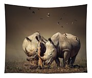 Rhino's With Birds Tapestry