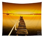 Rickety Pier Sunset Tapestry