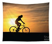 Riding At Sunset Tapestry