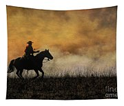 Riding The Fire Line Tapestry