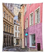 Riga Narrow Road Digital Painting Tapestry
