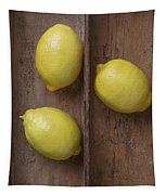 Ripe Lemons In Wooden Tray Tapestry