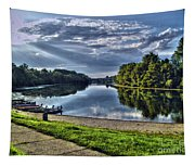 Riverbank Boats Tapestry