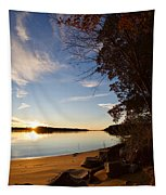 Riverbank Sunset Tapestry