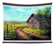 Road On The Farm Haroldsville L A With Decorative Ornate Printed Frame.  Tapestry