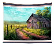 Road On The Farm Haroldsville L B With Decorative Ornate Printed Frame. Tapestry