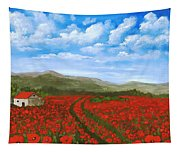 Road Through The Poppy Field Tapestry