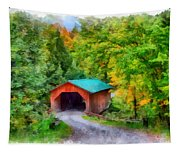 Road To The Covered Bridge Tapestry