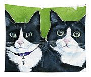 Robin And Batcat - Twin Tuxedo Cat Painting Tapestry