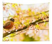 Robin In Spring Blossom Cherry Tree Tapestry