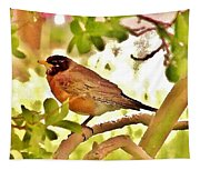 Robin In Tree Tapestry