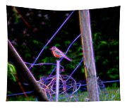 Robin On The Wires Tapestry