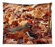 Robin Playing In Fallen Leaves Tapestry