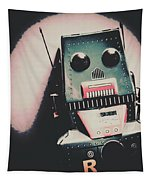 Robotic Mech Under Vintage Spotlight Tapestry