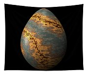 Rock Egg With Warm Yellow Lines Tapestry